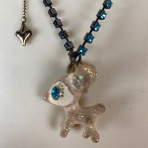 Betsey Johnson Glitter Deer Pendant Necklace